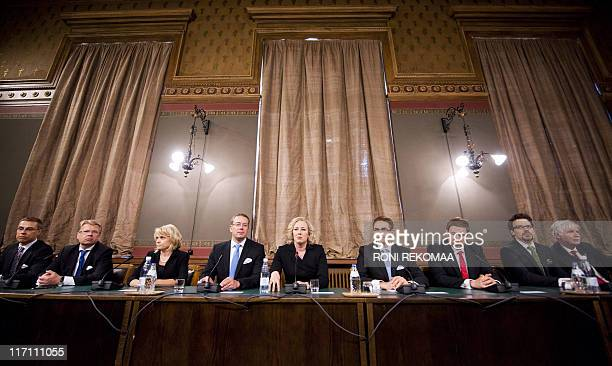 Members of the new Finnish government Trade and Europe Affairs Minister Alexander Stubb Economic Affairs Minister Jyri Hakamies Interior Minister...