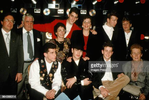 Members of the New Kids on the Block with their parents circa 1989 in New York City