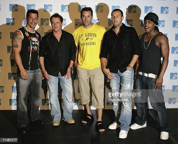 Members of the New MTV program 'Totally Boyband' Danny Wood, Jimmy Constable, Dane Bowers, Lee Latchford Evans and Bradley McIntosh pose for a...