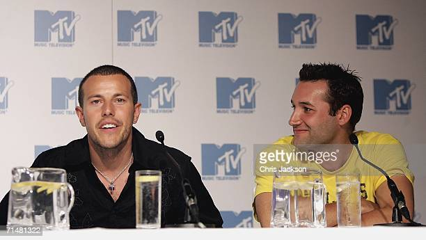 Members of the New MTV program 'Totally Boyband' Lee Latchford Evans and Dane Bowers talk at a press conference to launch the new band, July 19, 2006...