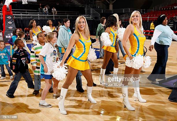 Oklahoma city hornets honeybees dance team stock photos and pictures members of the new orleans hornets dance team the honeybees dance with kids on freerunsca Gallery
