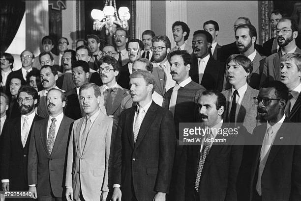 Members of the New York City Gay Men's Chorus perform during a rally at City Hall in support of the Gay Rights Bill New York New York June 20 1985...