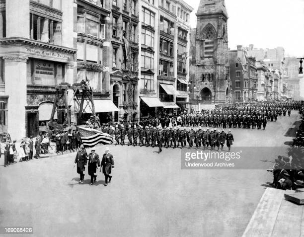 Members of the New York City Police Department marching in a parade New York New York 1911