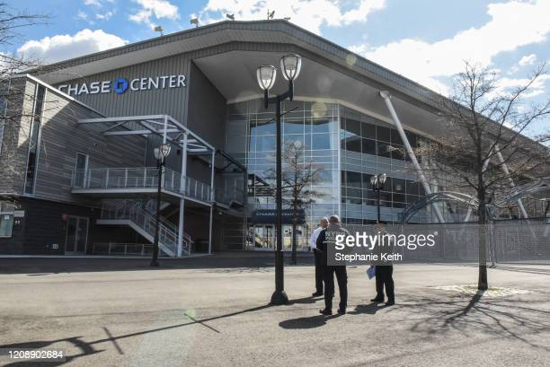 Members of the New York City Police Department stand in front of the Billie Jean King National Tennis Center in Flushing Meadows Park on April 1 2020...