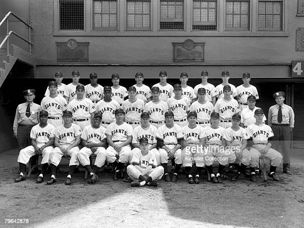 Members of the New York Giants pose for a team portrait prior to a game in 1951 at the Polo Grounds in New York New York Those pictured include Wes...