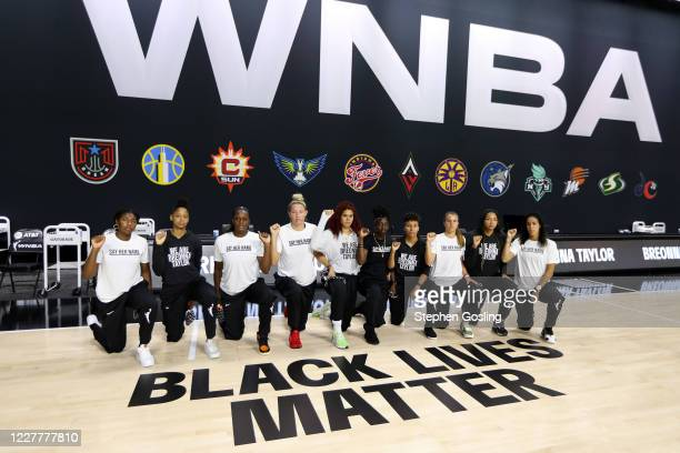 Members of the New York Liberty gather for a group photo prior to the game against the Seattle Storm on July 25, 2020 at Feld Entertainment Center in...