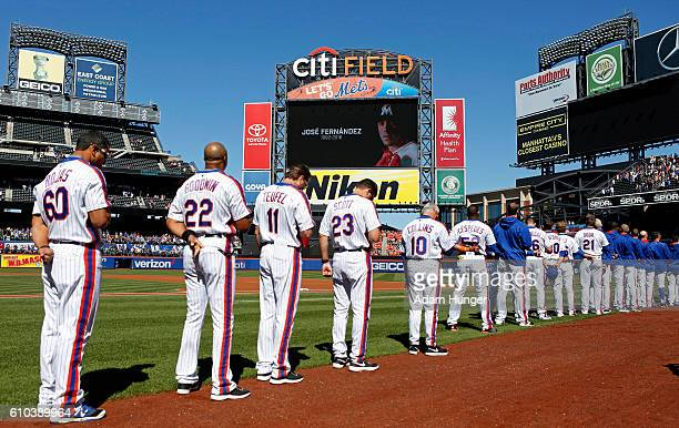 Members of the New York Mets stand for a moment of silence in honor of for Jose Fernandez of the Miami Marlins prior to taking on the Philadelphia...