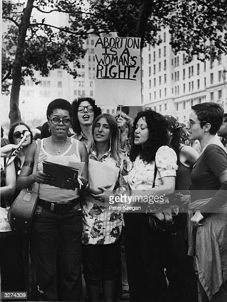 Members of the New York women's Liberation Army demonstrate on a street corner to demand abortion rights