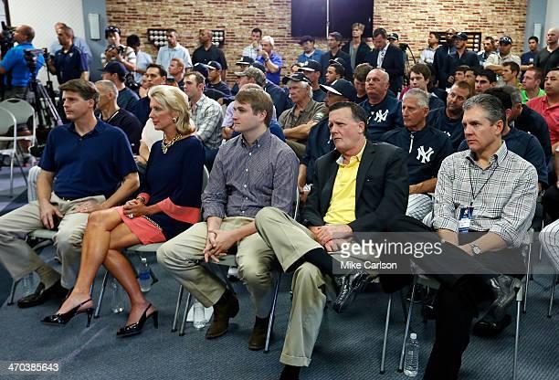 Members of the New York Yankees management Hal Steinbrenner Jennifer Steinbrenner Swindal Stephen Swindal Jr and Hank Steinbrenner are joined by...