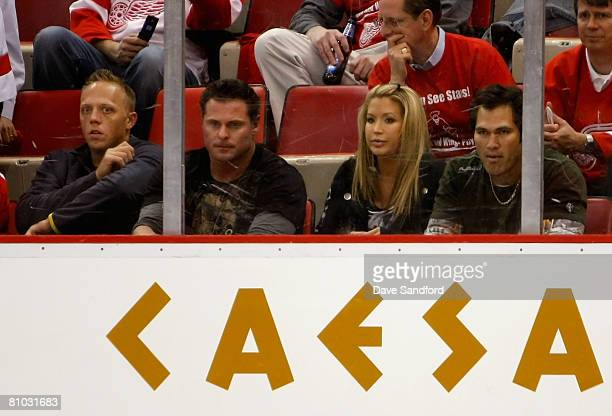 Members of the New York Yankees Shelley Duncan Jason Giambi and Johnny Damon with wife Michelle Damon attend game one of the Western Conference...