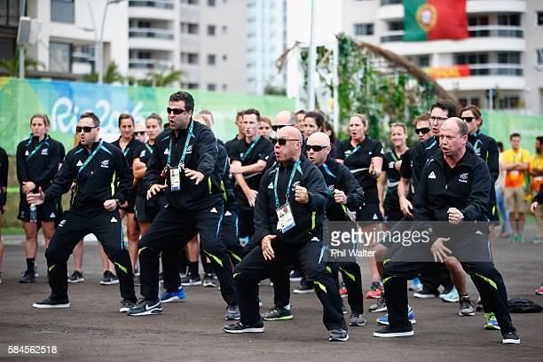 Members of the New Zealand 2016 Rio Olympics team perform the haka during their official welcome and flag raising ceremony on July 29 2016 in Rio de...