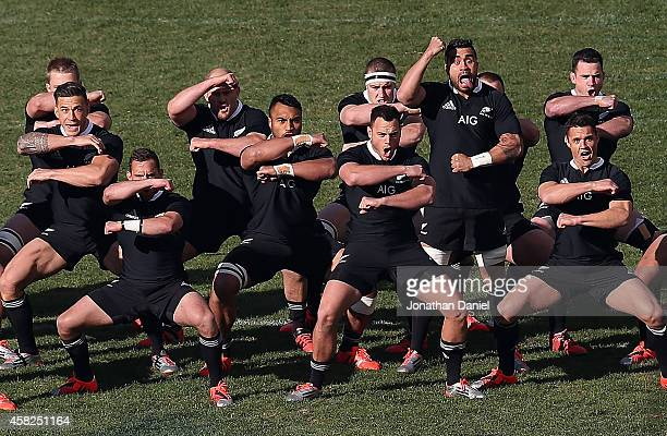 Members of the New Zealand All Blacks perform a traditional haka before taking on the United States of America Eagles during an International Test...