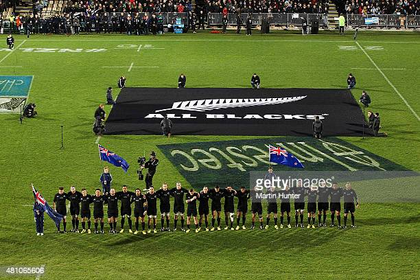 Members of the New Zealand All Blacks sing the national anthem during The Rugby Championship match between the New Zealand All Blacks and Argentina...