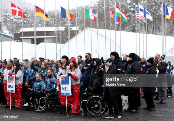 Members of the New Zealand and United States paralympic team during the Welcoming Ceremony at the PyeongChang Olympic Village ahead of the...