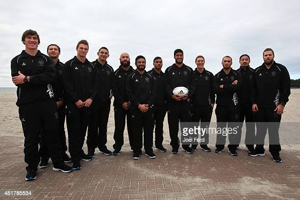 Members of the New Zealand Sevens Commonwealth Games team pose at the Mt Maunganui Surf Club on July 7, 2014 in Mount Maunganui, New Zealand.