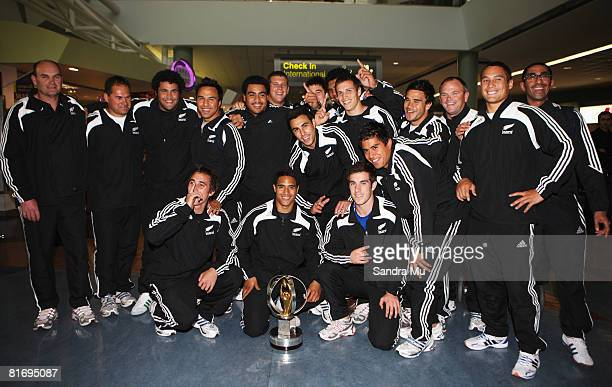 Members of the New Zealand Under 20 Team pose together after arriving home from the IRB Junior World Championship at Auckland International Airport...