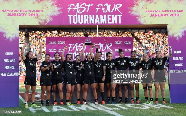 Members of the New Zealand women's team celebrate winning their Rugby Sevens Fast Four final match between New Zealand and France at Waikato Stadium...