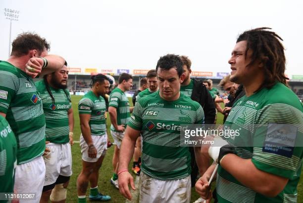 Members of the Newcastle Falcons side cut dejected figures during the Gallagher Premiership Rugby match between Exeter Chiefs and Newcastle Falcons...