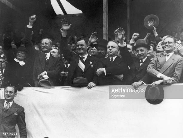 Members of the newly elected French socialist Popular Front government watching a Bastille Day protest march in the Place de la Nation Paris 14th...