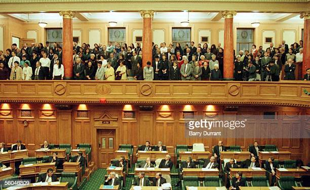 Members of the Ngai Tahu tribe and relations fill the public gallery during a Waiata after the Ngai Tahu bill was passed in Parliament on Tuesday