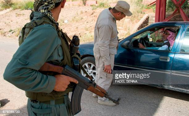 Members of the Nineveh Plain Protection Units a small Christian militia charged with protecting the predominantly Christian Iraqi town of Qaraqosh...