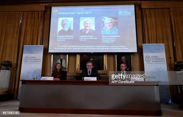 Members of the Nobel Committee Sara Snogerup Linse the Secretary General of the Royal Swedish Academy of Sciences Goran Hansson and Peter Brezezinski...
