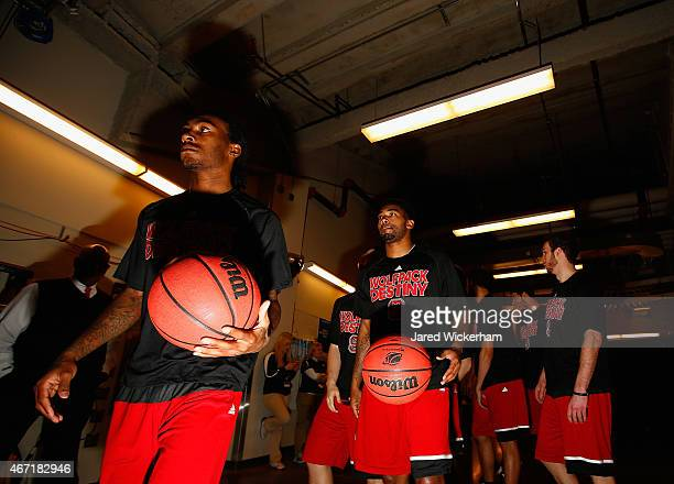 Members of the North Carolina State Wolfpack walk to the floor before the start of their game against the Villanova Wildcats during the third round...