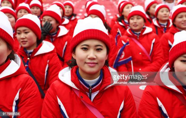 Members of the North Korea cheerleader squad look on after the Alpine Skiing Ladies' Slalom on day five of the PyeongChang 2018 Winter Olympics at...
