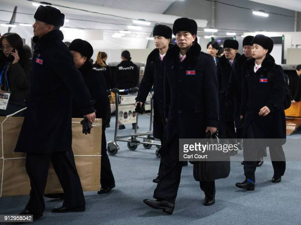 Members of the North Korean Winter Olympics team arrive at the athletes village in Gangneung ahead of the PyeongChang 2018 Winter Olympics, on...