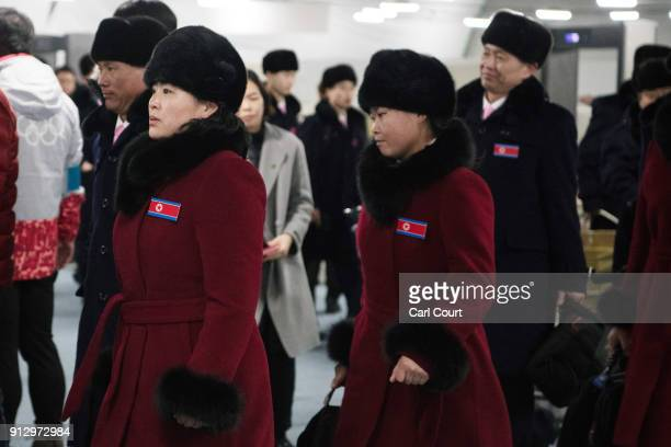 Members of the North Korean Winter Olympics team arrive at the athletes village in Gangneung ahead of the PyeongChang 2018 Winter Olympics on...