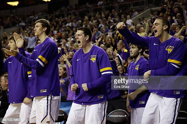 Members of the Northern Iowa Panthers react during the second half against the Wyoming Cowboys during the second round of the 2015 Men's NCAA...