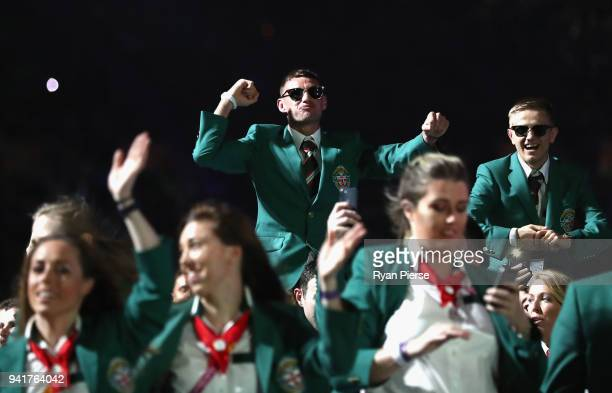 Members of the Northern Ireland team arrive during the Opening Ceremony for the Gold Coast 2018 Commonwealth Games at Carrara Stadium on April 4 2018...