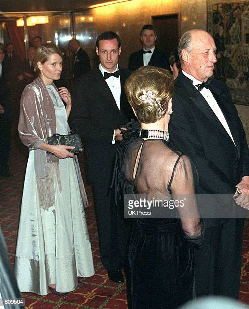 Members of the Norwegian Royal Family from left MetteMarit Tjessem Hoiby Crown Prince Haakon Queen Sonja and King Harald foreground attend the 90th...