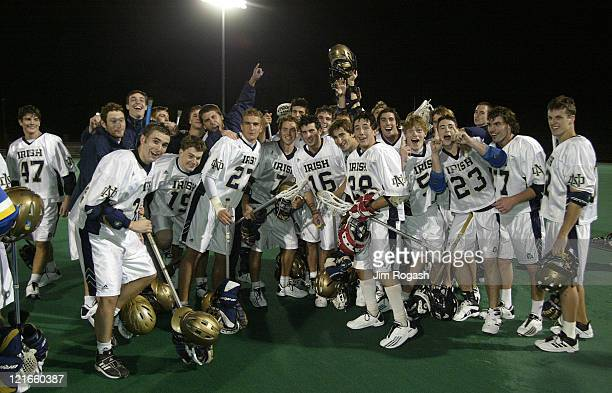 Members of the Notre Dame lacrosse team ham it up for the camera after winning the championship of the Algonquin Cup College Lacrosse Invitational...