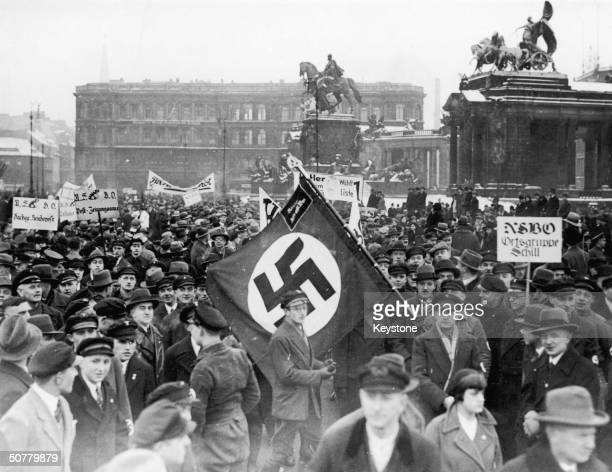 Members of the NSBO - a left-wing Nazi union, demostrate in Berlin during the German general election campaign of 1933.