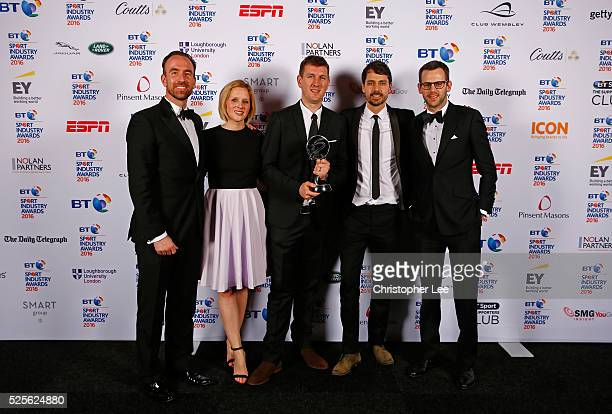 Members of the O2 Wear The Rose LIVE team are presented with the Best Entertainment Experience award at the BT Sport Industry Awards 2016 at...