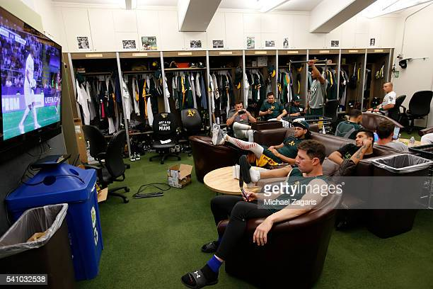 Members of the Oakland Athletics relax in the clubhouse prior to the game against the Detroit Tigers at the Oakland Coliseum on May 28 2016 in...