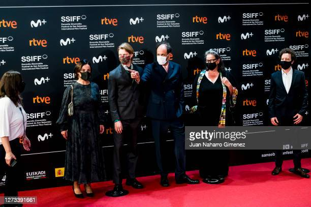 Members of the Official Jury Marisa Fernandez, Joe Alwyn, Luca Guadagnino, Lena Mossum and Michel Franco attend 'Rifkin's Festival' premiere during...