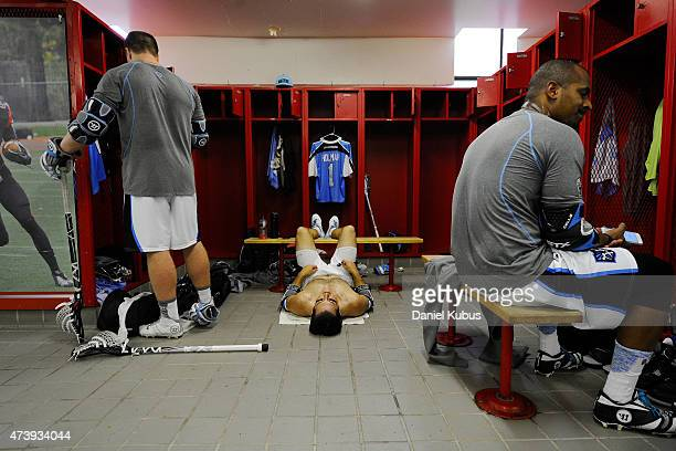 Members of the Ohio Machine prepare in the locker room prior to a game against the Charlotte Hounds at Selby Stadium on May 16 2015 in Delaware Ohio