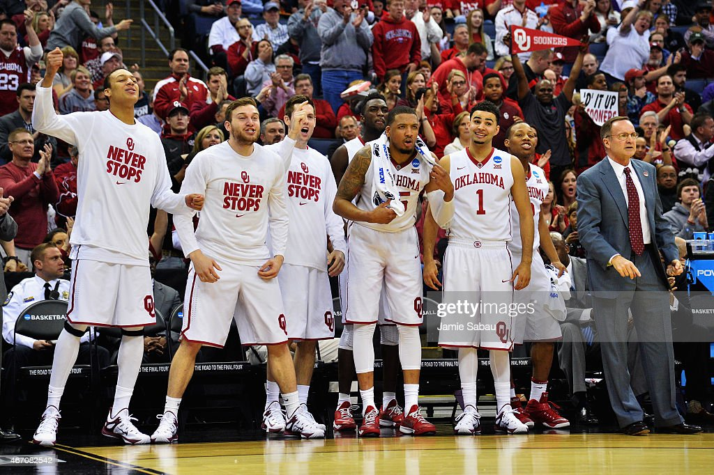 Members of the Oklahoma Sooners bench celebrate against the Albany Great Danes during the first half of the second round of the 2015 NCAA Men's Basketball Tournament at Nationwide Arena on March 20, 2015 in Columbus, Ohio.