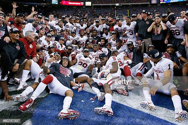 Members of the Oklahoma Sooners celebrate their 4531 win over the Alabama Crimson Tide during the Allstate Sugar Bowl at the MercedesBenz Superdome...