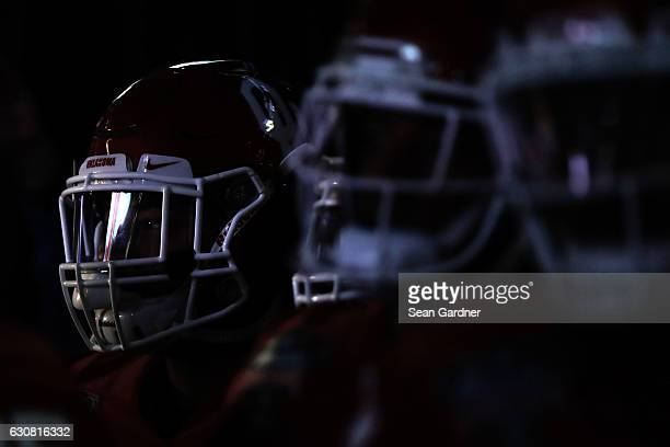 Members of the Oklahoma Sooners prepare to play the Auburn Tigers during the Allstate Sugar Bowl at the MercedesBenz Superdome on January 2 2017 in...