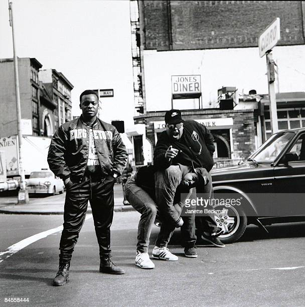 Members of the old school hiphop group 'Original Concept' pose outside the old Great Jones Diner on the corner of Lafayette and Great Jones Street in...