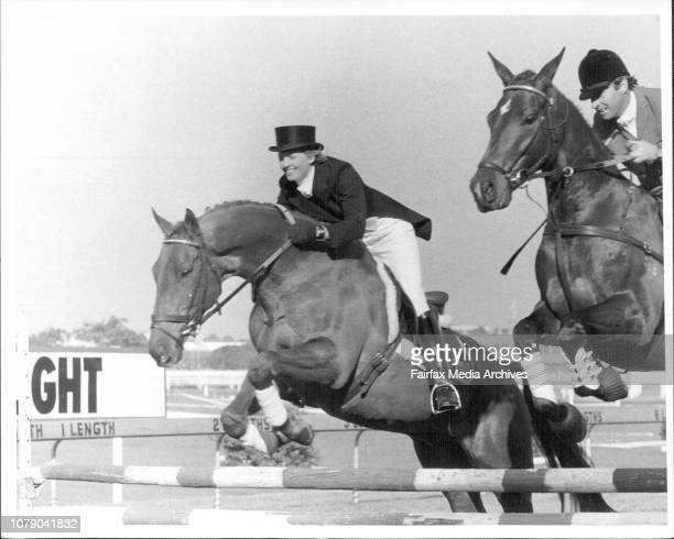 Members of the Olympic Equestrian team Demonstraing their skill between races 4 and 25 June 01 1984