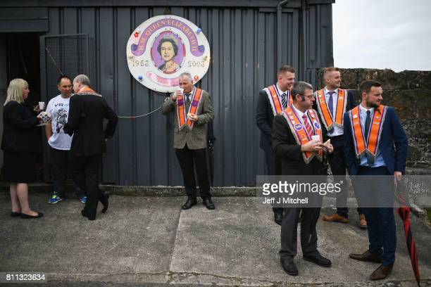 Members of the Orange Order have tea and sandwiches following their weekly march at Drumcree Church on July 9, 2017 in Drumcree, Northern Ireland....