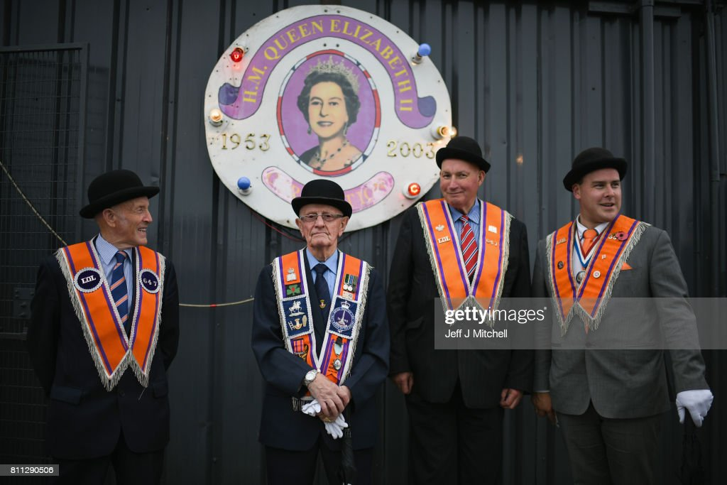 Members of the Orange Order hold a prayer service during their weekly protest at Drumcree Church on July 9, 2017 in Drumcree, Northern Ireland. The annual Orange marches and demonstrations will take place on the Twelfth of July to celebrate the Battle of the Boyne in 1690 when the Protestant King William of Orange defeated the Catholic King James II on the banks of the river Boyne.