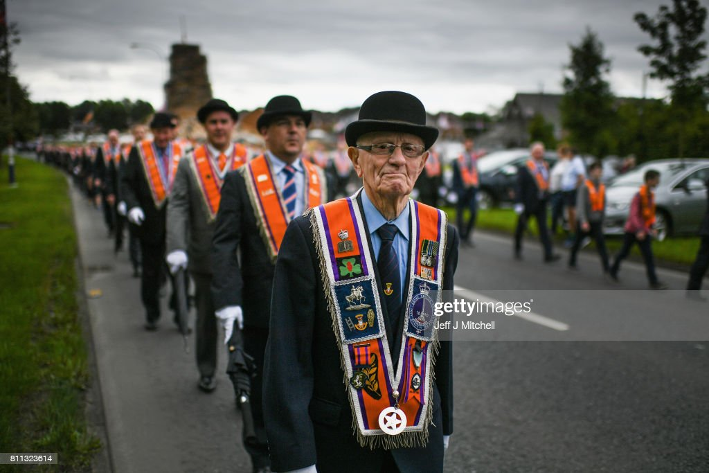 Members of the Orange Order march to Drumcree Church on July 9, 2017 in Drumcree, Northern Ireland. The annual Orange marches and demonstrations will take place on the Twelfth of July to celebrate the Battle of the Boyne in 1690 when the Protestant King William of Orange defeated the Catholic King James II on the banks of the river Boyne.