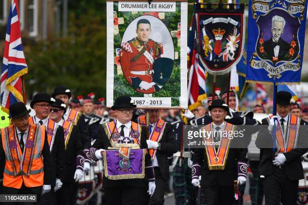 Members of the Orange Order take part in the 329th Battle of the Boyne Parade organized by the County Grand Orange Order Lodge on July 6 2019 in...