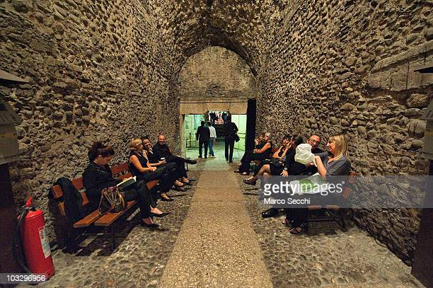 Members of the orchestra take a break during the interval at the Arena during the performance of 'Aida' on August 8 2010 in Verona Italy The city of...