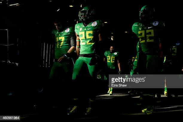 Members of the Oregon Ducks walk in the tunnel prior to the College Football Playoff Semifinal at the Rose Bowl Game presented by Northwestern Mutual...